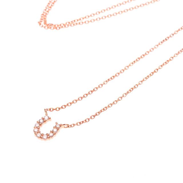 第1・2・3話<br>商品番号:0344-0192-0018<br>K10 ピンクゴールド ダイヤモンド 馬蹄 ネックレス