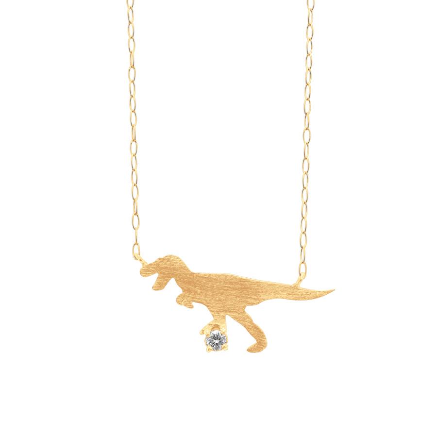 BAPGB2073940<br> K10 イエローゴールド ダイヤモンド ティラノサウルス ネックレス