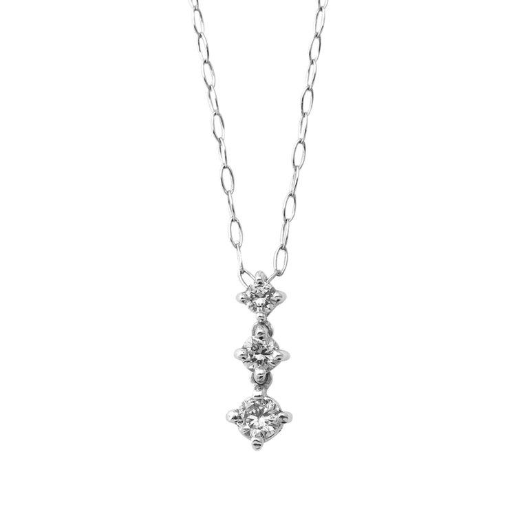 【ドラマ着用】K10 ホワイトゴールド ダイヤモンド 3ストーン ネックレス(S)<br> BAPWB09439