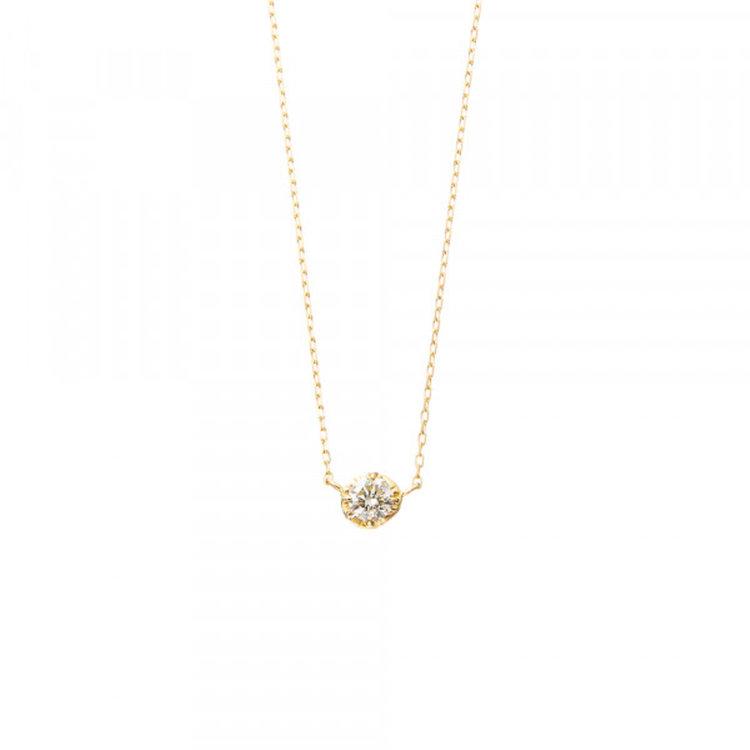 K18 イエローゴールド ダイヤモンド フェザー ネックレス<br> BGPGB190H240