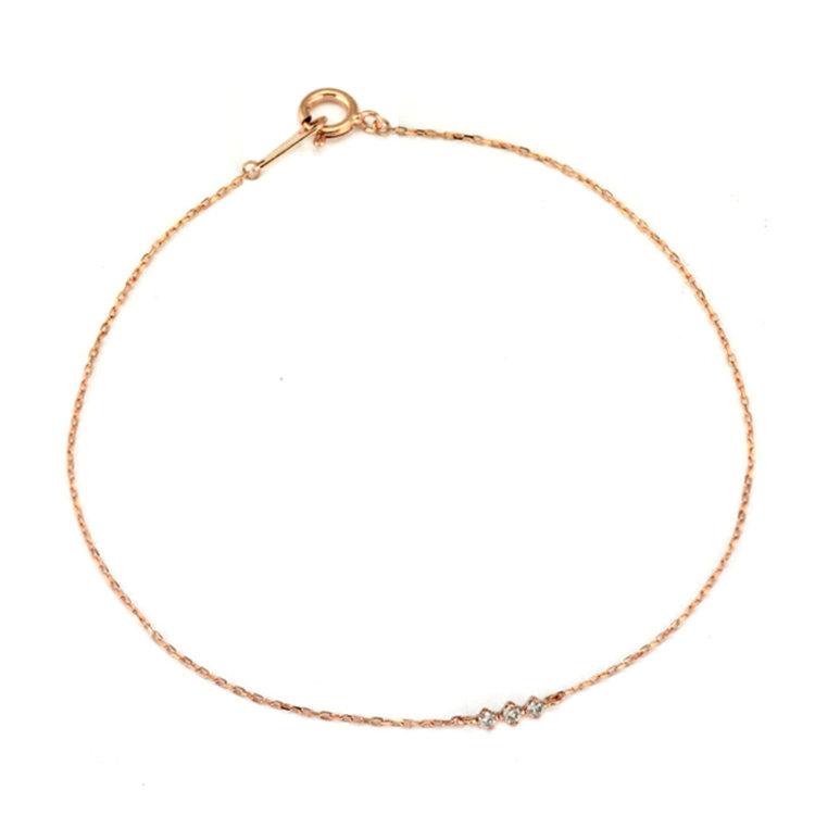 ②K10ピンクゴールドダイヤモンドブレスレット(品番:AGBP10073917)