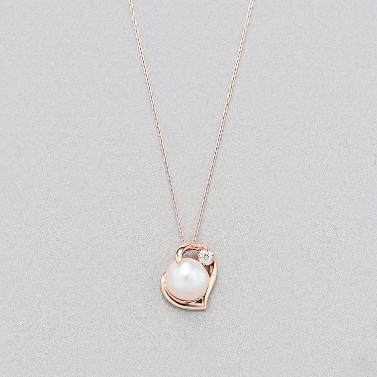 6月誕生石 K10 ピンクゴールド あこや真珠 ネックレス<br>BAPLB2738G40